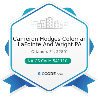 Cameron Hodges Coleman LaPointe And Wright PA - NAICS Code 541110 - Offices of Lawyers