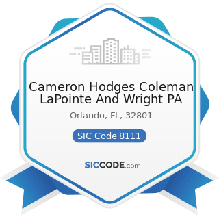 Cameron Hodges Coleman LaPointe And Wright PA - SIC Code 8111 - Legal Services