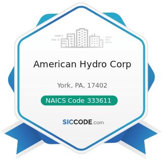 American Hydro Corp - NAICS Code 333611 - Turbine and Turbine Generator Set Units Manufacturing