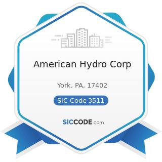 American Hydro Corp - SIC Code 3511 - Steam, Gas, and Hydraulic Turbines, and Turbine Generator...