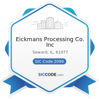 Eickmans Processing Co. Inc - SIC Code 2099 - Food Preparations, Not Elsewhere Classified