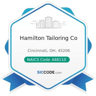Hamilton Tailoring Co - NAICS Code 448110 - Men's Clothing Stores