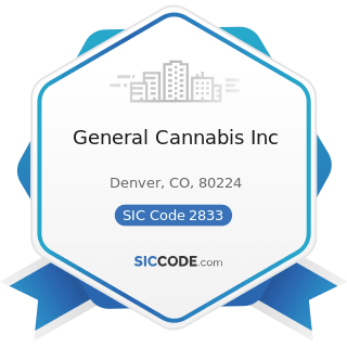 General Cannabis Inc - SIC Code 2833 - Medicinal Chemicals and Botanical Products