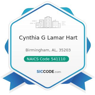 Cynthia G Lamar Hart - NAICS Code 541110 - Offices of Lawyers