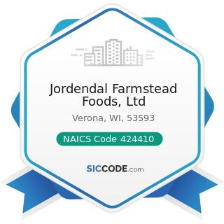 Jordendal Farmstead Foods, Ltd - NAICS Code 424410 - General Line Grocery Merchant Wholesalers