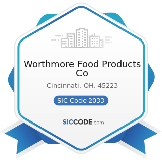 Worthmore Food Products Co - SIC Code 2033 - Canned Fruits, Vegetables, Preserves, Jams, and...