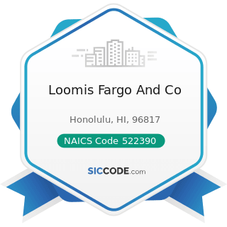 Loomis Fargo And Co - NAICS Code 522390 - Other Activities Related to Credit Intermediation