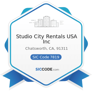 Studio City Rentals USA Inc - SIC Code 7819 - Services Allied to Motion Picture Production