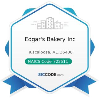 Edgar's Bakery Inc - NAICS Code 722511 - Full-Service Restaurants