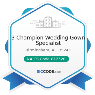 3 Champion Wedding Gown Specialist - NAICS Code 812320 - Drycleaning and Laundry Services...
