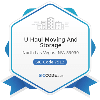 U Haul Moving And Storage - SIC Code 7513 - Truck Rental and Leasing without Drivers
