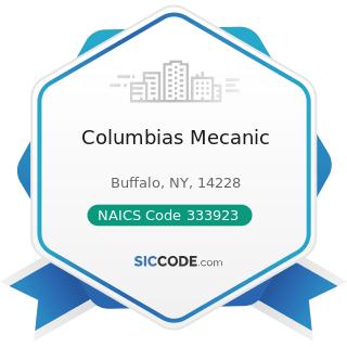 Columbias Mecanic - NAICS Code 333923 - Overhead Traveling Crane, Hoist, and Monorail System...