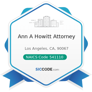Ann A Howitt Attorney - NAICS Code 541110 - Offices of Lawyers