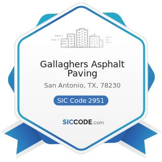 Gallaghers Asphalt Paving - SIC Code 2951 - Asphalt Paving Mixtures and Blocks