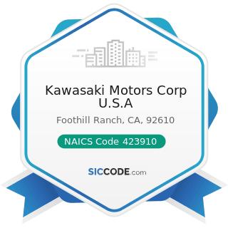 Kawasaki Motors Corp U.S.A - NAICS Code 423910 - Sporting and Recreational Goods and Supplies...