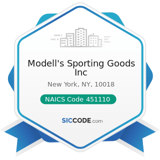 Modell's Sporting Goods Inc - NAICS Code 451110 - Sporting Goods Stores