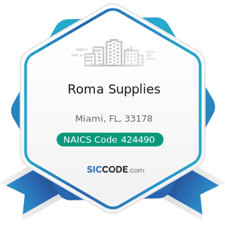 Roma Supplies - NAICS Code 424490 - Other Grocery and Related Products Merchant Wholesalers