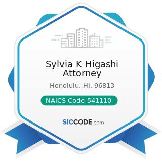 Sylvia K Higashi Attorney - NAICS Code 541110 - Offices of Lawyers
