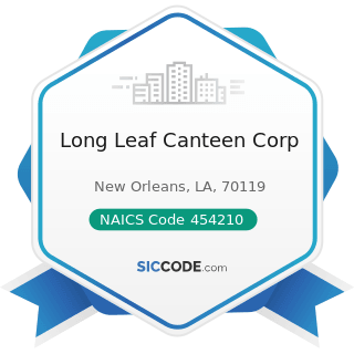 Long Leaf Canteen Corp - NAICS Code 454210 - Vending Machine Operators