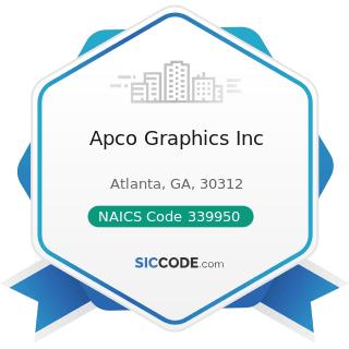 Apco Graphics Inc - NAICS Code 339950 - Sign Manufacturing