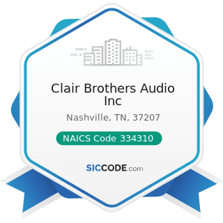 Clair Brothers Audio Inc - NAICS Code 334310 - Audio and Video Equipment Manufacturing