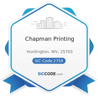 Chapman Printing - SIC Code 2759 - Commercial Printing, Not Elsewhere Classified