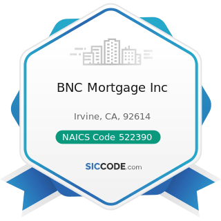 BNC Mortgage Inc - NAICS Code 522390 - Other Activities Related to Credit Intermediation