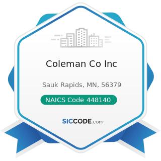 Coleman Co Inc - NAICS Code 448140 - Family Clothing Stores