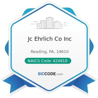 Jc Ehrlich Co Inc - NAICS Code 424910 - Farm Supplies Merchant Wholesalers