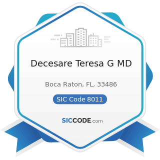 Decesare Teresa G MD - SIC Code 8011 - Offices and Clinics of Doctors of Medicine
