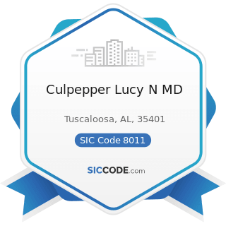 Culpepper Lucy N MD - SIC Code 8011 - Offices and Clinics of Doctors of Medicine