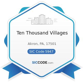 Ten Thousand Villages - SIC Code 5947 - Gift, Novelty, and Souvenir Shops