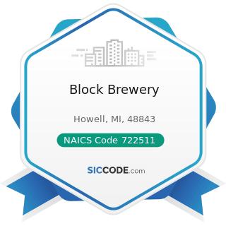 Block Brewery - NAICS Code 722511 - Full-Service Restaurants