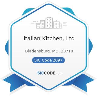Italian Kitchen, Ltd - SIC Code 2097 - Manufactured Ice
