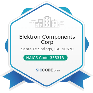 Elektron Components Corp - NAICS Code 335313 - Switchgear and Switchboard Apparatus Manufacturing