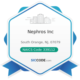Nephros Inc - NAICS Code 339112 - Surgical and Medical Instrument Manufacturing
