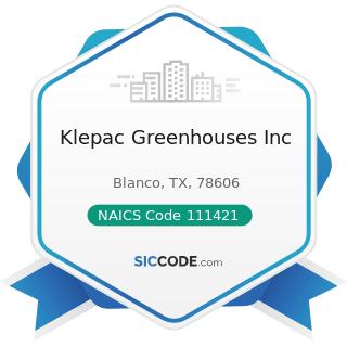 Klepac Greenhouses Inc - NAICS Code 111421 - Nursery and Tree Production