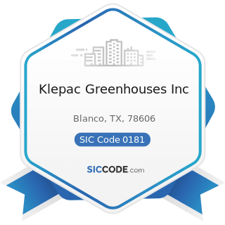 Klepac Greenhouses Inc - SIC Code 0181 - Ornamental Floriculture and Nursery Products