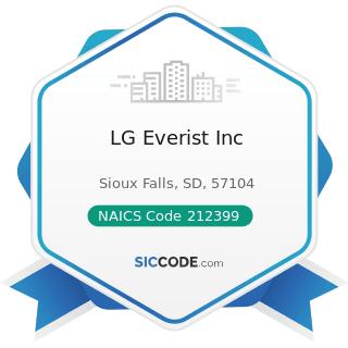 LG Everist Inc - NAICS Code 212399 - All Other Nonmetallic Mineral Mining