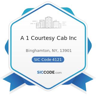 A 1 Courtesy Cab Inc - SIC Code 4121 - Taxicabs