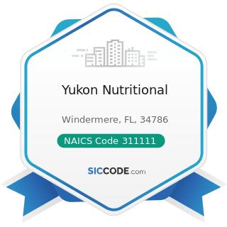 Yukon Nutritional - NAICS Code 311111 - Dog and Cat Food Manufacturing
