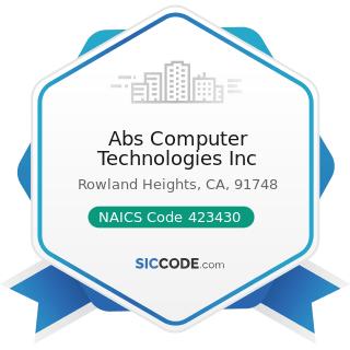 Abs Computer Technologies Inc - NAICS Code 423430 - Computer and Computer Peripheral Equipment...