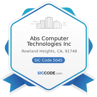 Abs Computer Technologies Inc - SIC Code 5045 - Computers and Computer Peripheral Equipment and...