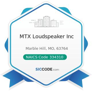 MTX Loudspeaker Inc - NAICS Code 334310 - Audio and Video Equipment Manufacturing