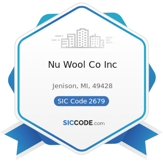 Nu Wool Co Inc - SIC Code 2679 - Converted Paper and Paperboard Products, Not Elsewhere...