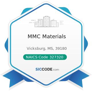 MMC Materials - NAICS Code 327320 - Ready-Mix Concrete Manufacturing