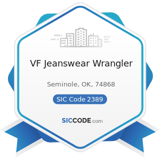 VF Jeanswear Wrangler - SIC Code 2389 - Apparel and Accessories, Not Elsewhere Classified