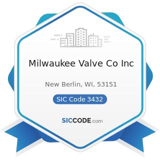 Milwaukee Valve Co Inc - SIC Code 3432 - Plumbing Fixture Fittings and Trim
