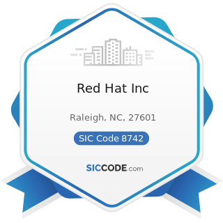 Red Hat Inc - SIC Code 8742 - Management Consulting Services