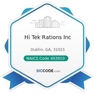 Hi Tek Rations Inc - NAICS Code 453910 - Pet and Pet Supplies Stores